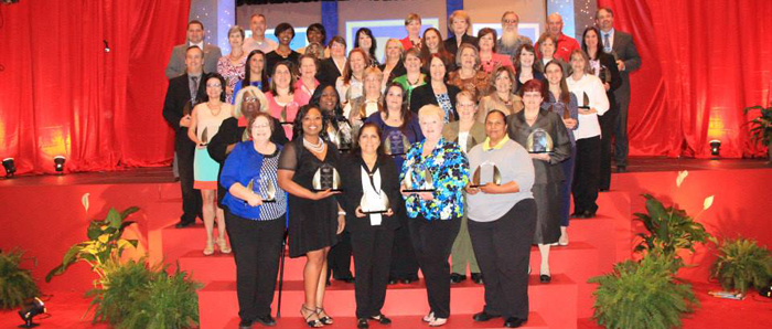Outstanding faculty, staff and administrative award recipients at the 2014 Annual Conference in Baton Rouge.