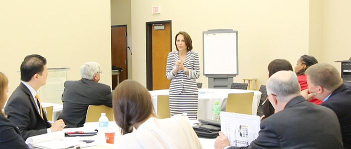 Senior VP of System Advancement Leah Goss leads a compression planning workshop for leaders at South Central Louisiana Technical College.