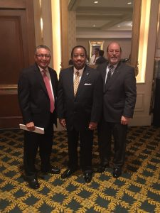 Roberto Zárate, Immediate Past Chair, ACCT (left), Timothy W. Hardy, LCTCS Chairman (middle), J. Noah Brown, President & CEO, ACCT (right)