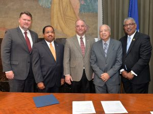 (left to right) Dr. Monty Sullivan, President, LCTCS, Timothy W. Hardy, Board Chair, LCTCS, John Bel Edwards, Governor of Louisiana, Dr. Leon R. Tarver, Chairman, SUS, Dr. Ray L. Belton, President-Chancellor, SUS