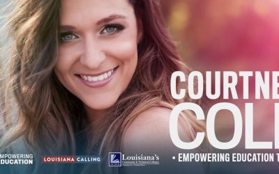 Courtney Cole, Empowering Education Tour. Includes logos for: CMT Empowering Education, Louisiana Calling, and LCTCS